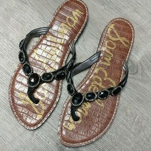 Sam Edelman Flip Flops 9 Black Gems Boho Flats